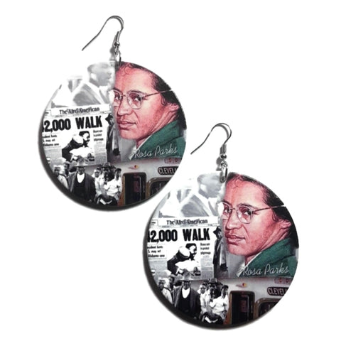 Rosa Parks Statement Dangle Wood Earrings