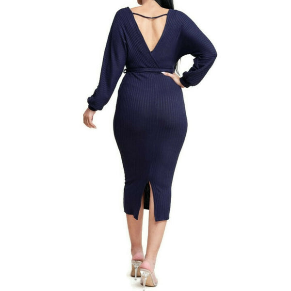 MM Navy Blue Ribbed Knit Long Sleeve Sweater V-neck Midi Dress