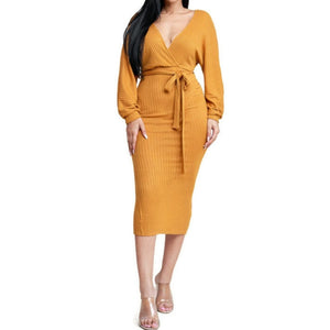 MM Mustard Ribbed Knit Long Sleeve Sweater V-neck Midi Dress
