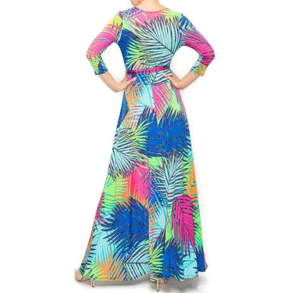Janette Fashion Neon Butterfly Palm Florals Faux Wrap Maxi Dress