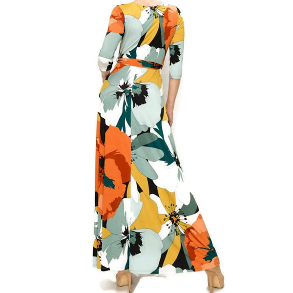 Fall First Love Orange Faux Wrap Maxi Dress