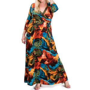 Janette Fashion Winter Flame Faux Wrap Maxi Plussize Dress