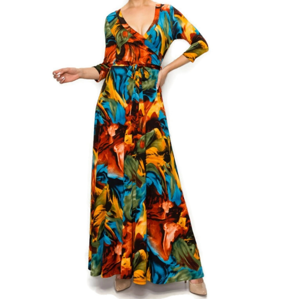 Winter Flame Faux Wrap Maxi Dress