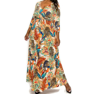 Janette Fashion Bali Feathers Faux Wrap Maxi Plussize Dress