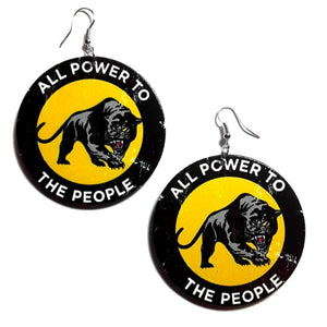 Vintage Black Panther All Power to the People Statement Dangle Wood Earrings