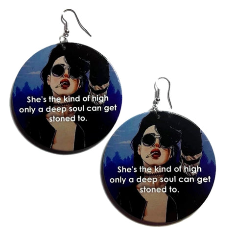 Deep Soul Chick Statement Dangle Wood Earrings