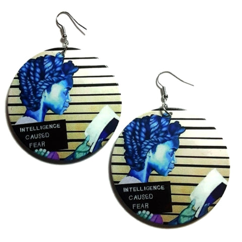 Intelligence Caused Fear Reading Girl Statement Dangle Wood Earrings