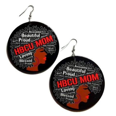 Beautiful Proud HBCU MOM Red Statement Dangle Wood Earrings
