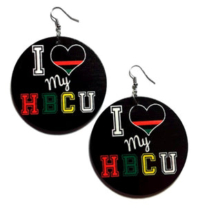 I Love My HBCU Statement Dangle Wood Earrings