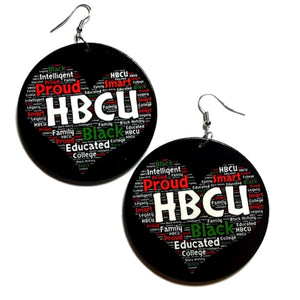 Proud HBCU Black Educated Statement Dangle Wood Earrings