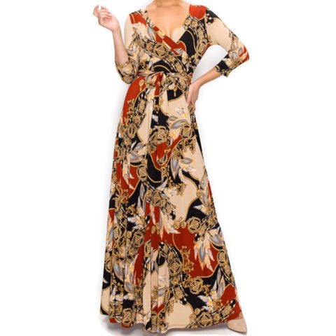 Dreamcatcher Gold Rust Faux Wrap Maxi Dress