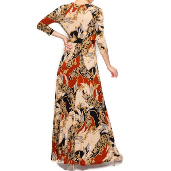 Janette Fashion Dreamcatcher Gold Rust Faux Wrap Maxi Dress