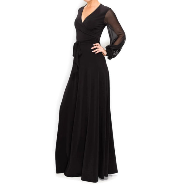 BLACK SHEER Long Bell Sleeve Evening Formal Maxi Dress