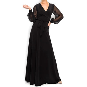 Janette Fashion BLACK SHEER Long Bell Sleeve Evening Formal Maxi Dress
