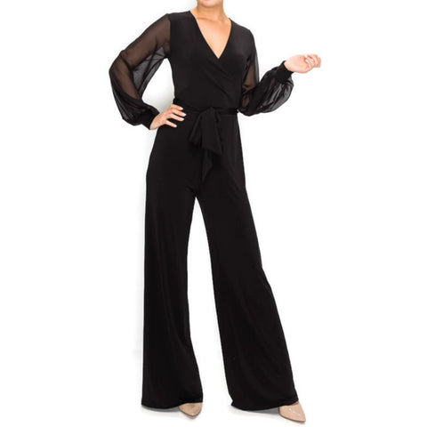 BLACK SHEER Long Bell Sleeve V-neck Jumpsuit