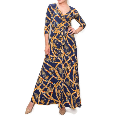 Navy New York Buckle Tassel Faux Wrap Maxi Dress