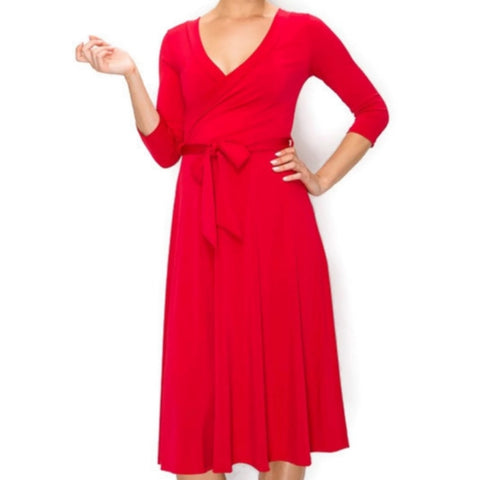 Janette Fashion Christmas Red Faux Wrap Knee Length Dress