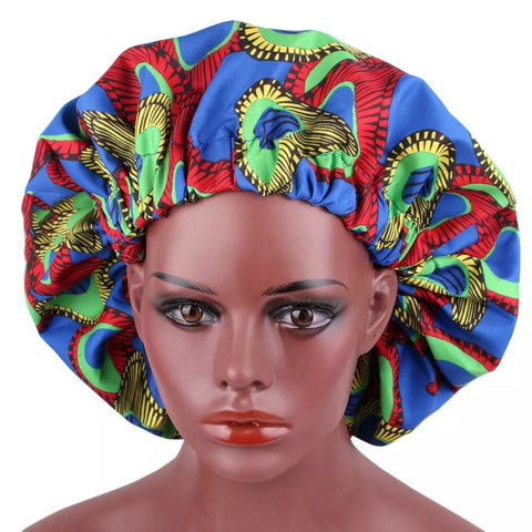 African Blue Red Lime Fabric Pattern Large Satin Bonnet Headwrap