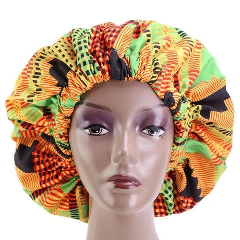 African Kente Green Large Satin Bonnet Headwrap