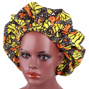 African Orange Yellow Black Fabric Pattern Large Satin Bonnet Headwrap