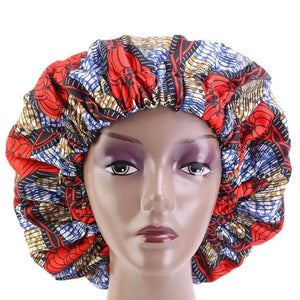 African Orange Floral Khaki Blue Fabric Pattern Large Satin Bonnet Headwrap