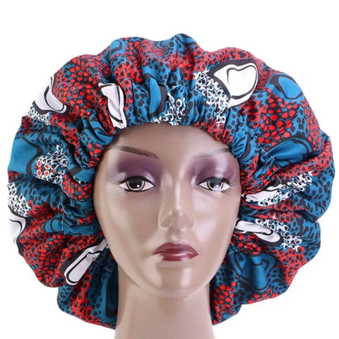 African Blue Red White Fabric Pattern Large Satin Bonnet Headwrap
