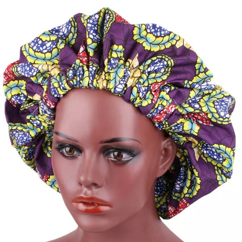 African Purple Lime Florals Fabric Pattern Large Satin Bonnet Headwrap