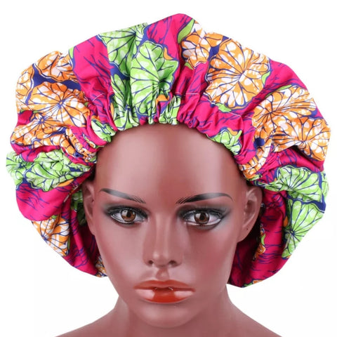 African Orange Lime Florals Pink Fabric Pattern Large Satin Bonnet Headwrap
