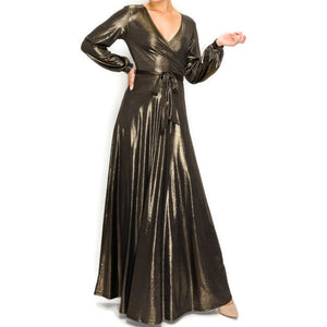 BLACK GOLD SHIMMER Long Bell Sleeve Formal Maxi Dress