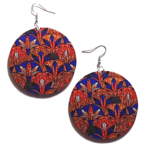 Orange Blue African Statement Dangle Wood Earrings