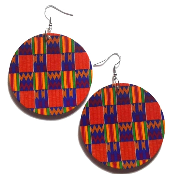 Kente Royal Blue African Statement Dangle Wood Earrings