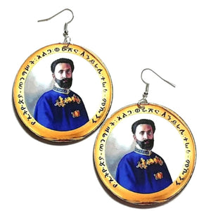 His Imperial Majesty King Haile Selassie I Statement Dangle Wood Earrings