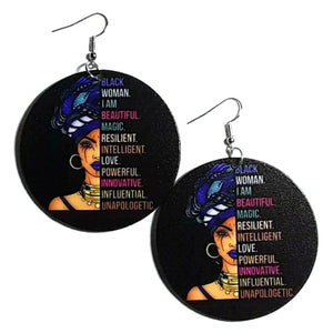 Black Woman Unapologetic Statement Dangle Wood Earrings