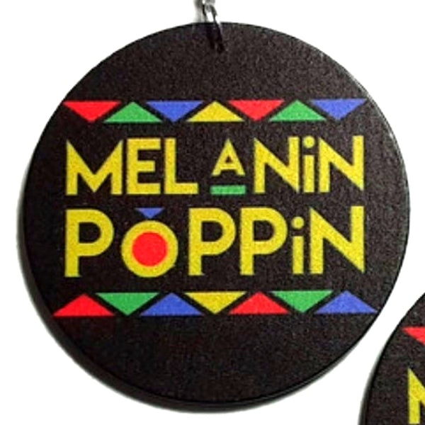 Melanin Poppin Statement Dangle Wood Earrings