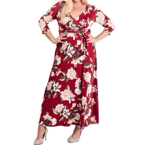 Janette Fashion Burgundy Blush Floral Faux Wrap Maxi Plussize Dress
