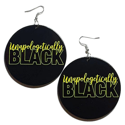 Unapologetically Black Yellow Statement Dangle Wood Earrings