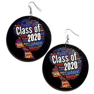Class of 2020 Statement Dangle Wood Earrings