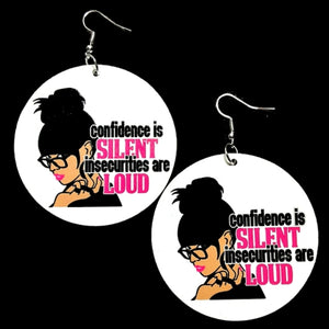 Queen Confidence LOUD Statement Dangle Wood Earrings