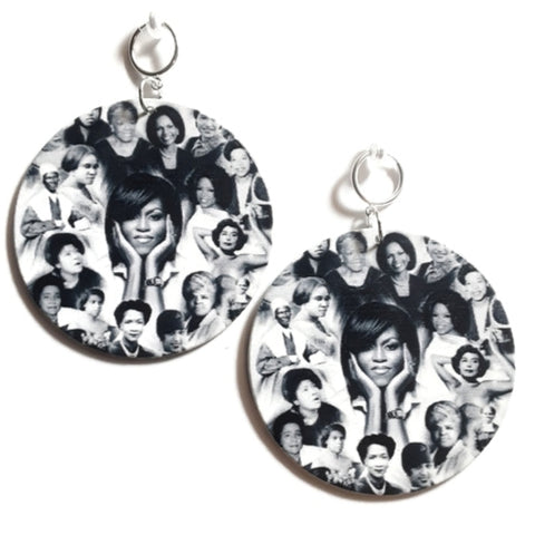 Phenomenal Black Women of History Statement Dangle Wood Clip On Earrings