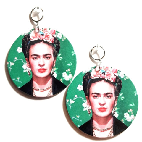 Frida Kahlo Statement Dangle Wood Clip On Earrings