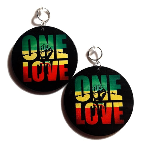 ONE LOVE Power Fist Rasta Statement Dangle Wood Clip On Earrings