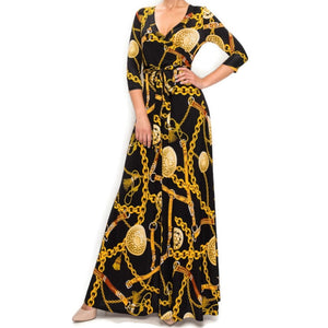 Black Gold Chain Buckle Tassel Faux Wrap Maxi Dress
