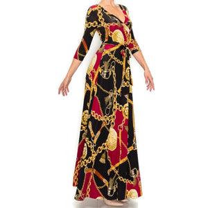 Burgundy Gold Chain Buckle Tassel Faux Wrap Maxi Dress