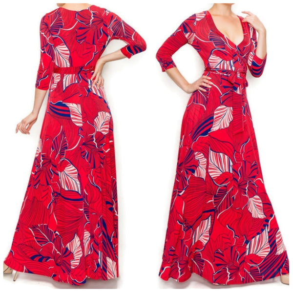 Red Navy White Floral Faux Wrap Maxi Dress