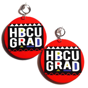 HBCU GRAD Red Statement Dangle Wood Clip On Earrings