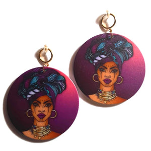 Purple Headwrap Empress Statement Dangle Wood Clip On Earrings