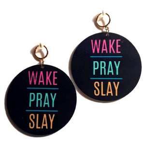 WAKE PRAY SLAY Statement Dangle Wood Clip On Earrings