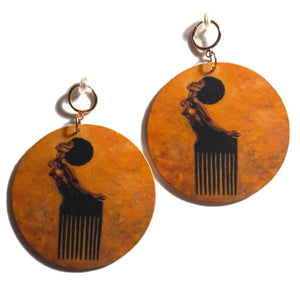 SOUL SISTA Statement Dangle Wood Clip On Earrings