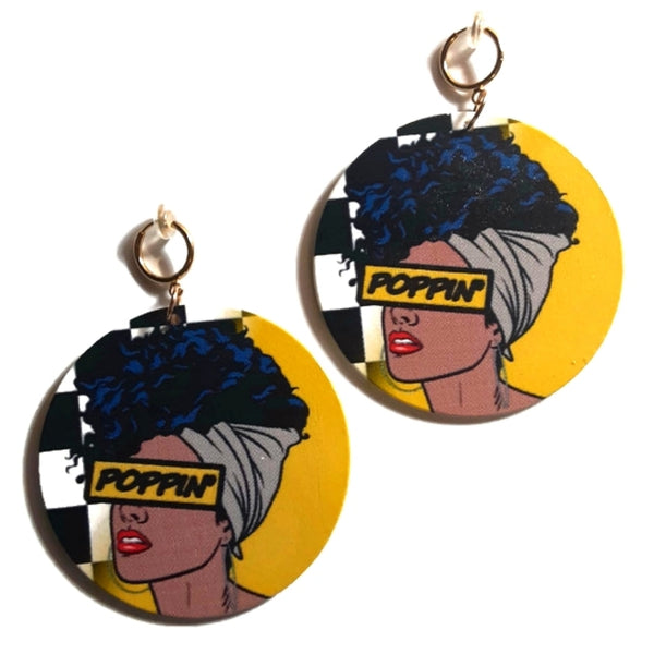 Melanin POPPIN Yellow Statement Dangle Wood Clip On Earrings