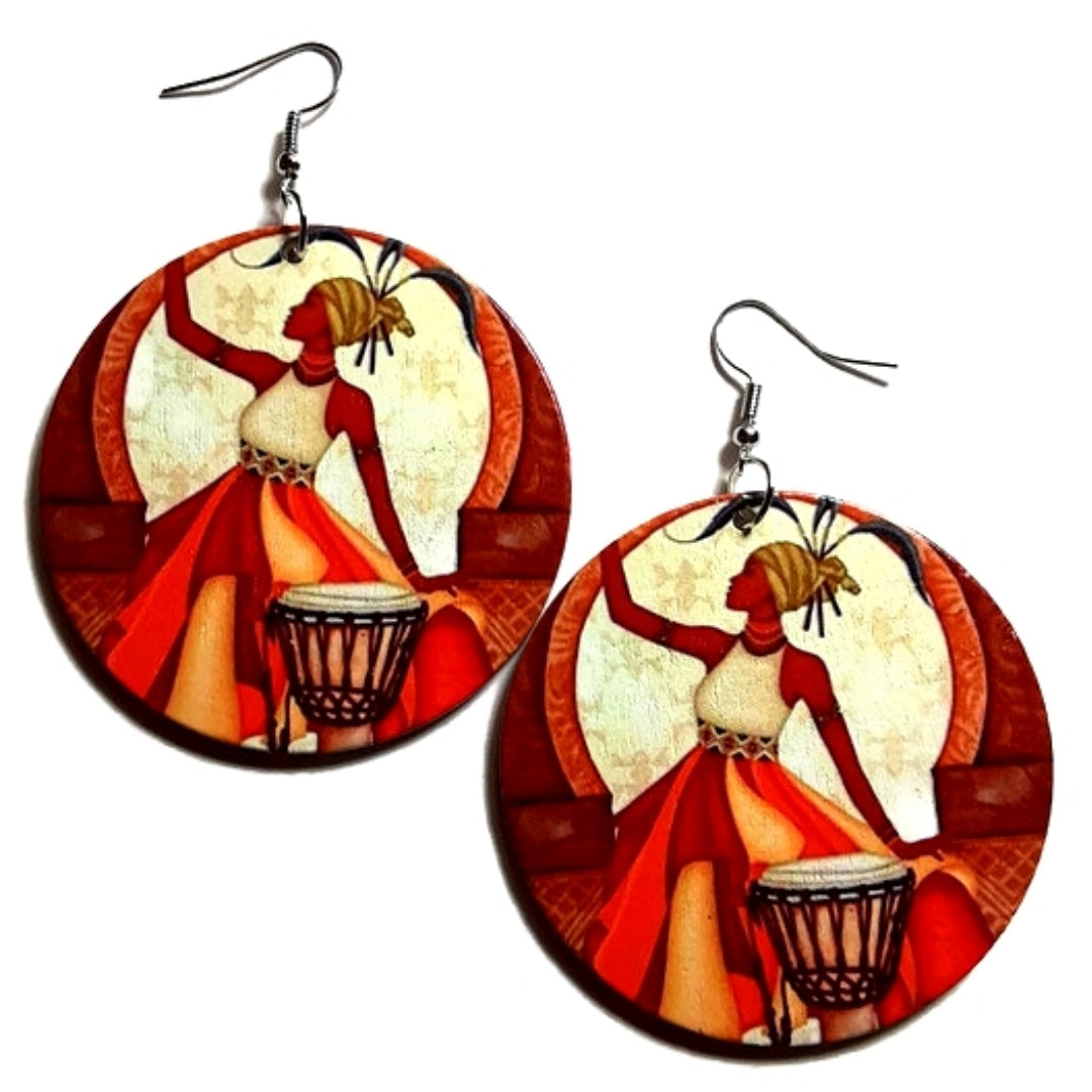 Queen Beats To Her Own Drums African Statement Dangle Wood Earrings